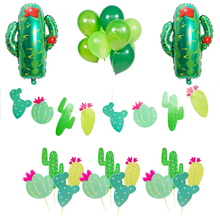 Omilut Cactus Party Decoration LLama Banner Balloon Cake Topper Tropical Summer Supplies