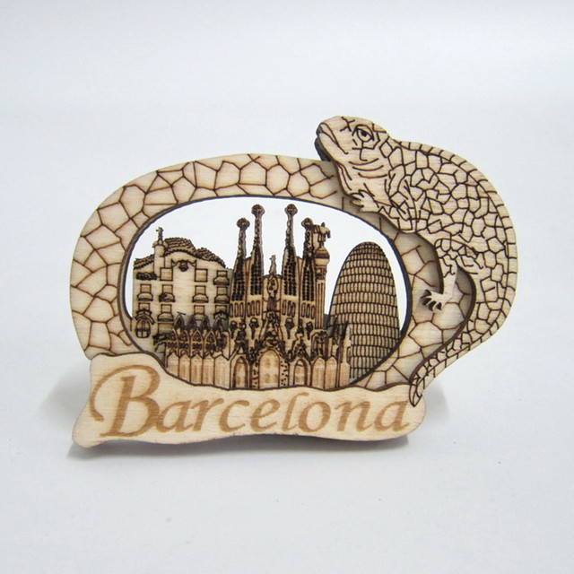 espaa turismo mira de la sagrada familia de barcelona gaudi lagarto casa de madera imanes de nevera mensaje pegatinas magntico