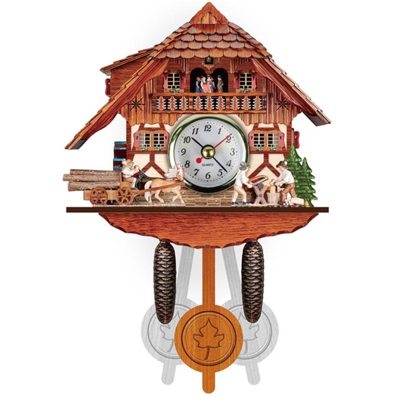 Creative Cuckoo Wall Clock Bird Alarm Clock Wood Hanging Clock Time Home Restaurant Decoration Vintage Living Room Decoration