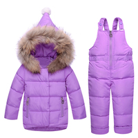 ZTOV Russia Winter Children Clothing Baby Ski Suit Parka Down Jacket + Overalls Girls Clothes Sets Thick Warm Kids Outerwear