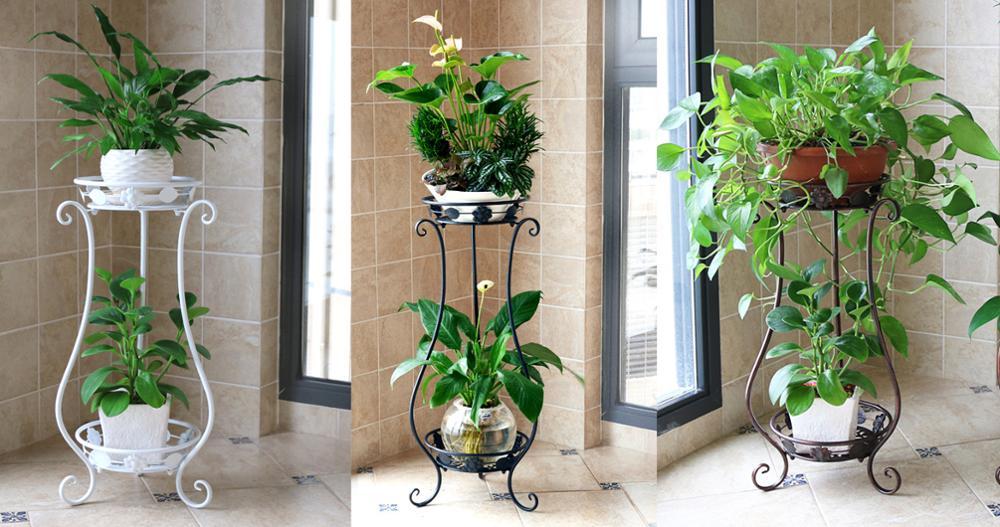 Planta de hierro estantes flor Europea Balcón de dos pisos planta ...