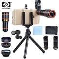 APEXEL 6 in 1 tripod 12X Zoom Telescope Fisheye Wide Angel Macro Lens Kit For All smartphone For iPhone Samsung Redmi Huawei