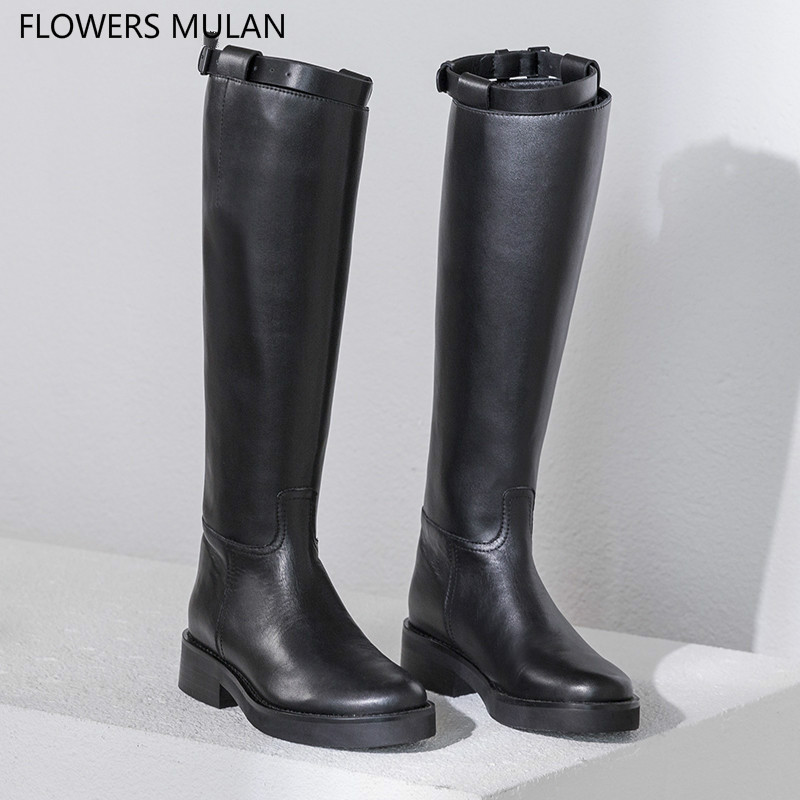2018 New Winter Luxury Genuine Leather Knee High Boots For Women Round Toe Low Chunky Heel Motorcycle Boots Slip On Belt Buckle2018 New Winter Luxury Genuine Leather Knee High Boots For Women Round Toe Low Chunky Heel Motorcycle Boots Slip On Belt Buckle
