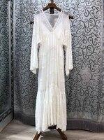 2019 Новая модная женская одежда, тонкое платье с v образным вырезом и вышивкой 318