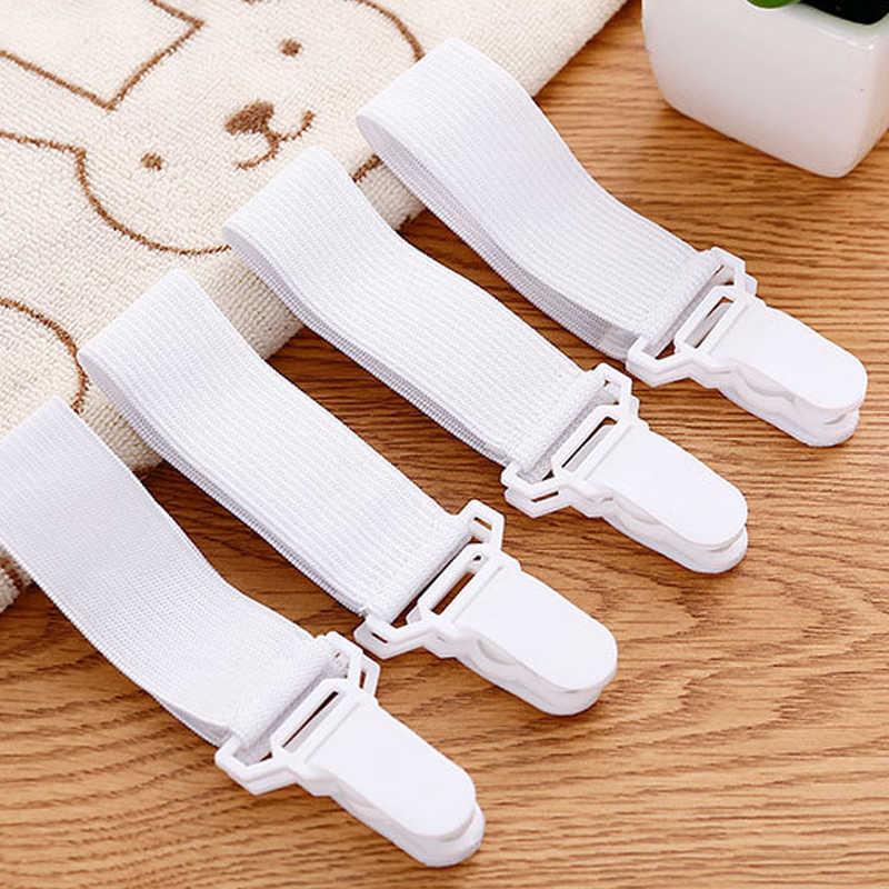 4PCS White Sheet Mattress Cover Blanket Clip Holder Fastener Elastic Set Clip Non-slip Elastic Band Fixer Tablecloth Fixing Tape