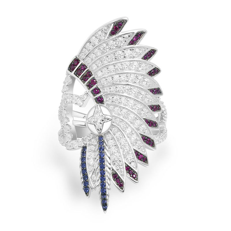 SLJELY Luxury Brand 925 Sterling Silver Indian Chief Feather Statement Ring Micro Cubic Zirconia Stones Women