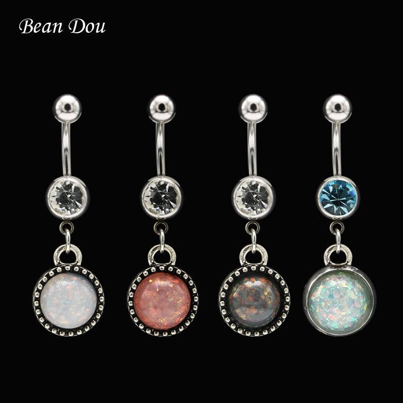 Ring Piercing Jewelry Opal-Stone Belly-Button Stainless-Steel Navel-Ombligo Dangle Women