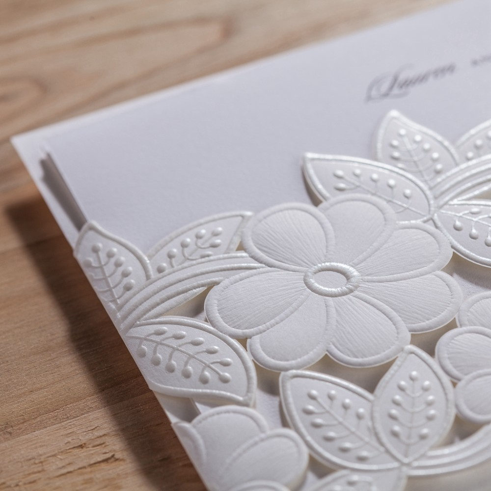 100pcs/lot Laser Cut Wedding Invitations White Elegant Party ...