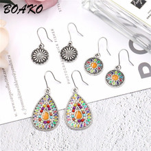 BOAKO 3Pairs/Set Vintage Boho Earrings Set for Women Multicolor Hanging Oil Drop Dangle Geometric Long