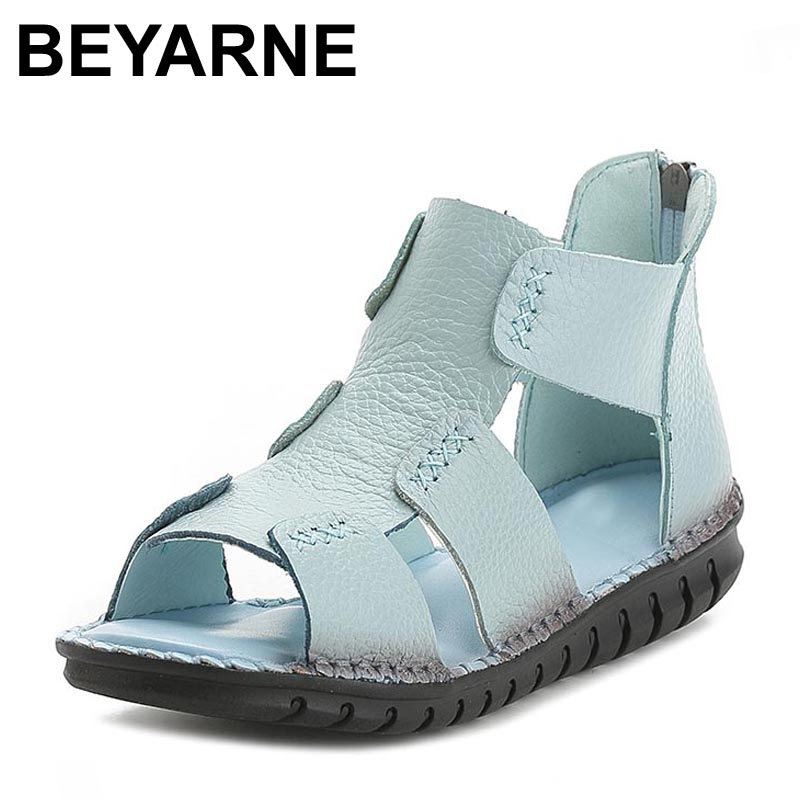 BEYARNEwomen sandals female handmade genuine leather women comfortable flat shoes sandals gladiator women summer shoes