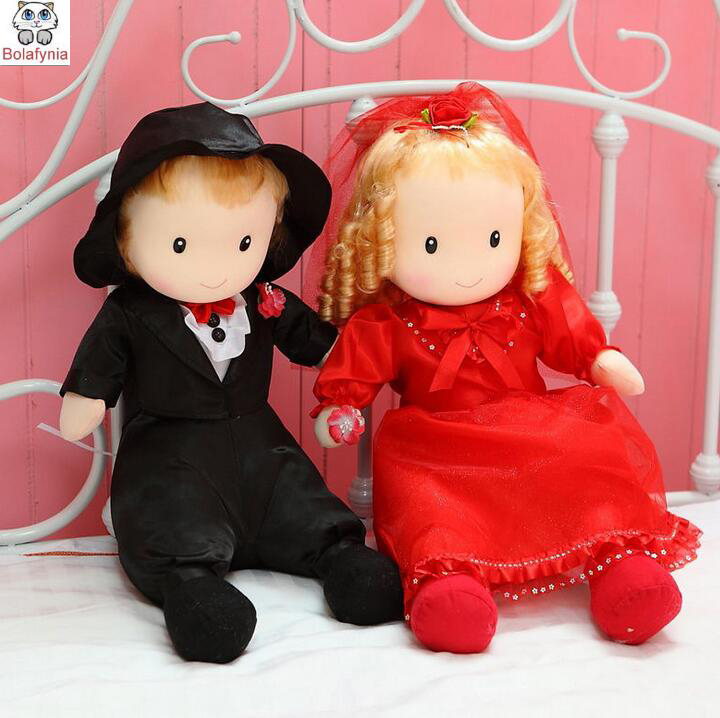 Continental blonde doll one pair of wedding dolls large wedding gift Chinese wedding dolls plush Stuffed toy мягкая игрушка gund doll berry sweet dolly 10 blonde doll