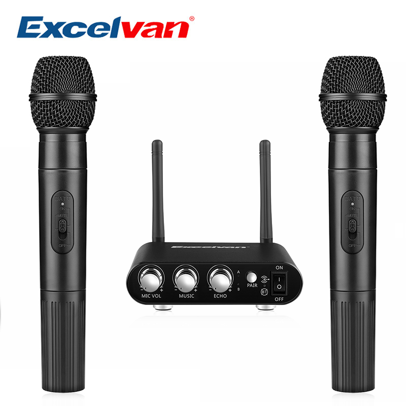 Excelvan K38 Dual Wireless Microphones with Receiver Box Various Frequency High-end Microphone For Home Entertainment Conference excelvan k38 dual wireless microphones with receiver box various frequency high end microphonfor home entertainment conference