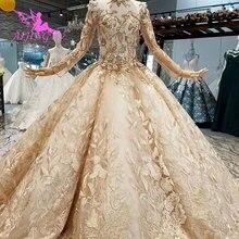 فستان زفاف AIJINGYU غوانزو فستان زفاف رخيص الثمن قوطي جديد شراء في دبي بالإضافة إلى حجم فاخر من التول الأبيض الملكي دبي