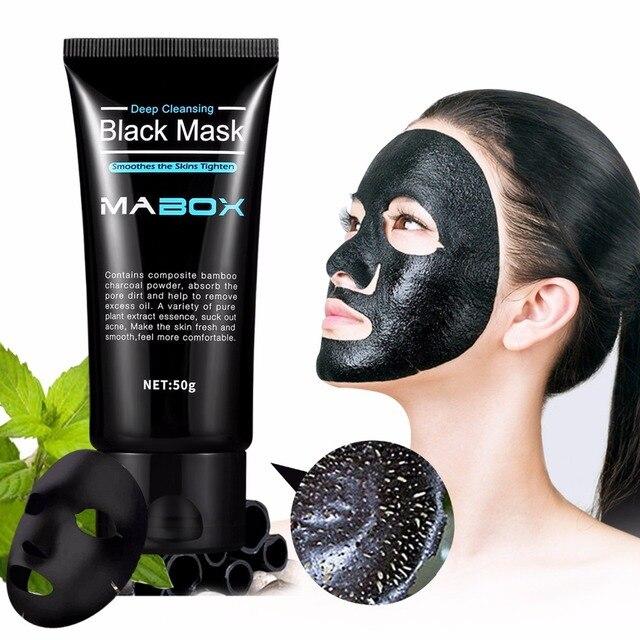 Mabox máscara negra cáscara de carbón de bambú purificación botella de máscara de limpieza profunda para AcneScars manchas WrinklesFacial