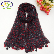 купить 180*110CM 1PC 2016 New Ethnic Style Fashion LInen Cotton Women Tassels Long Scarf Woman Flower Cotton Tassels  Pashminas дешево
