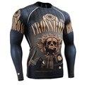 Homens musculares Compressão Apertado T-shirt Mangas Compridas 3D Full Impressões MMA Rashguard Aptidão Levantamento De Peso Desgaste da Camada de Base Tops