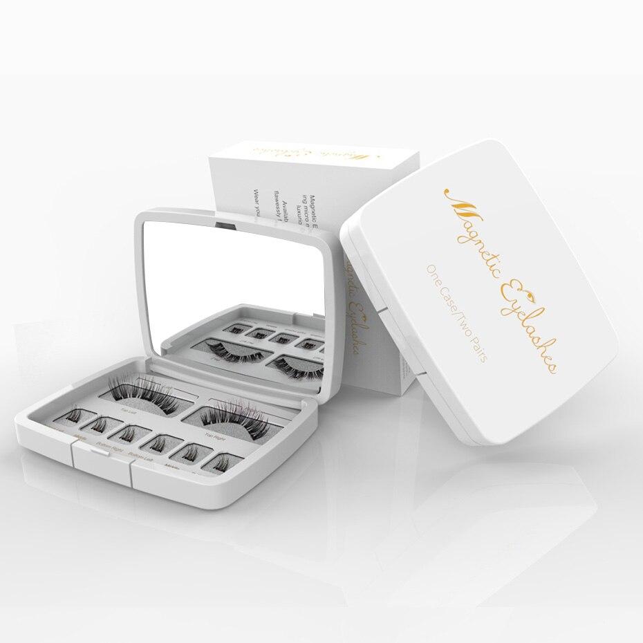Genailish 8pcs 3D Magnetic Eyelashes Mink Lash Full Strip Lashes False Eyelash With Tweezers Double Magnet Fake Lash  SCT-W-602
