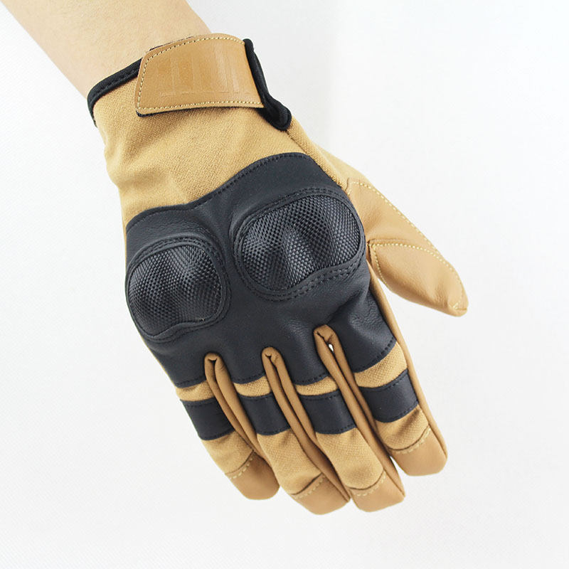 Tan Full Finger Tactical Gloves Hard Knuckle Paintball Airsoft Shooting Army Adjustable Mittens For Man