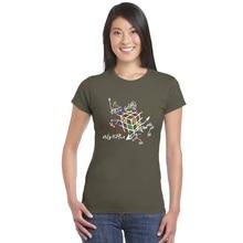 b84ee6325ab5e Trabalho de Matemática Camiseta Totó Teoria Cubo Cubo mágico Cubo  Geométrica Tee Tshirts menina Criativa Do