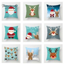 Fuwatacchi Xmas Cartoon Santa Deer Cushion Cover  Soft Throw Pillow Decorative Sofa Case Pillowcase
