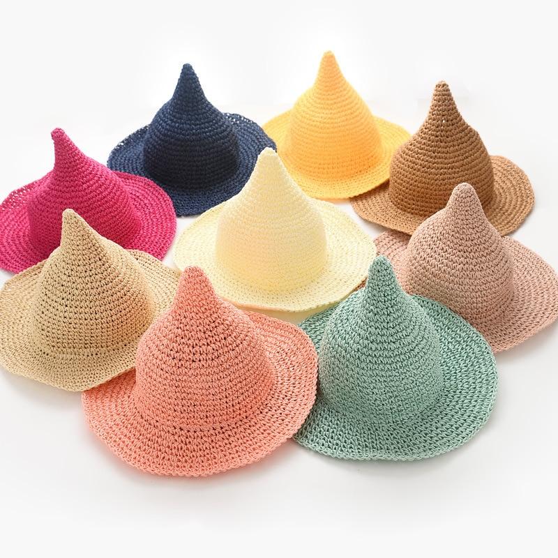 Children s summer straw hat little girl pointed cap peaked cap children  visor c5896d47e16