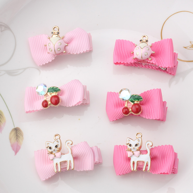 M MISM 2017 Ribbon Crown Crystal Hairpins Pink Cherry Bow-Knot Cats Kids Accessories Star Pendant Hairgrips Hair Clips Headwear m mism girl cute hairball hairpins lovely colorful hairgrips kids accessories new arrival hair clips headwear best gift to kids