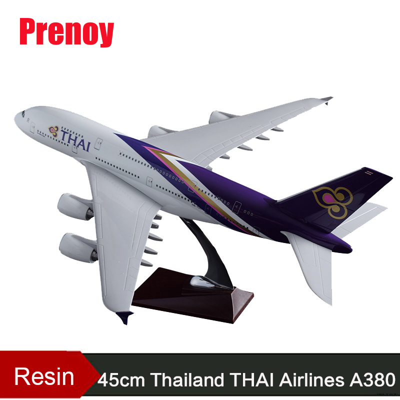 45cm Resin A380 Thailand Airlines Airplane Model THAI Airbus Airways Aircraft Model A380 Gifts Airplane Collection Souvenir Toys