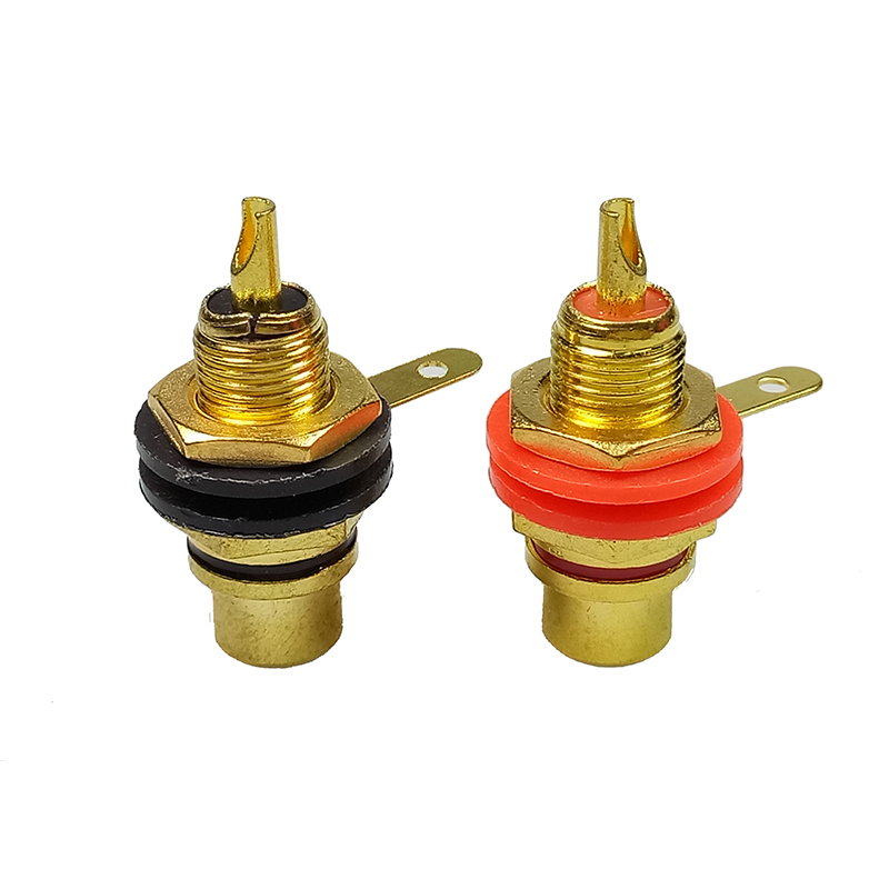 2pairs Gold Plated RCA connector Binding Post RCA Adapter Panel Mount Chassis Audio Socket Bulkhead with Nut Solder CUP terminal 80pcs gold plated rca female jack panel mount chassis socket red black