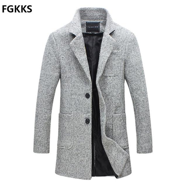 2016 Chegada Nova Marca Inverno Quente Homens Casaco de Lã de Moda mistura Casaco Para Homens Casuais Slim Fit Homens Do Revestimento Tamanho M-5XL