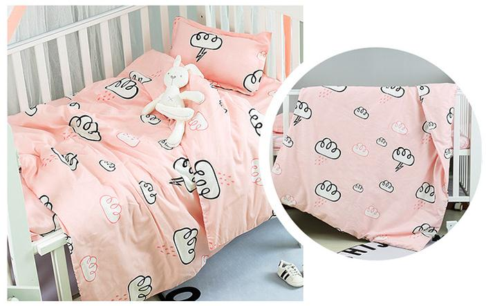 Pink Cloud Cot Bedding Cartoon Baby Bedding Sets Bed Safety Baby Bed Linens,Duvet/Sheet/Pillow, With Filling