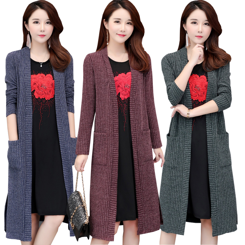 Cardigan Sweaters Coat Windbreaker Long-Sleeve Knitted Autumn Thick Women's New 5XL