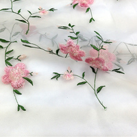 2015 fashion pink flower gauze embroidery lace cloth fabric high quality clothes fabric