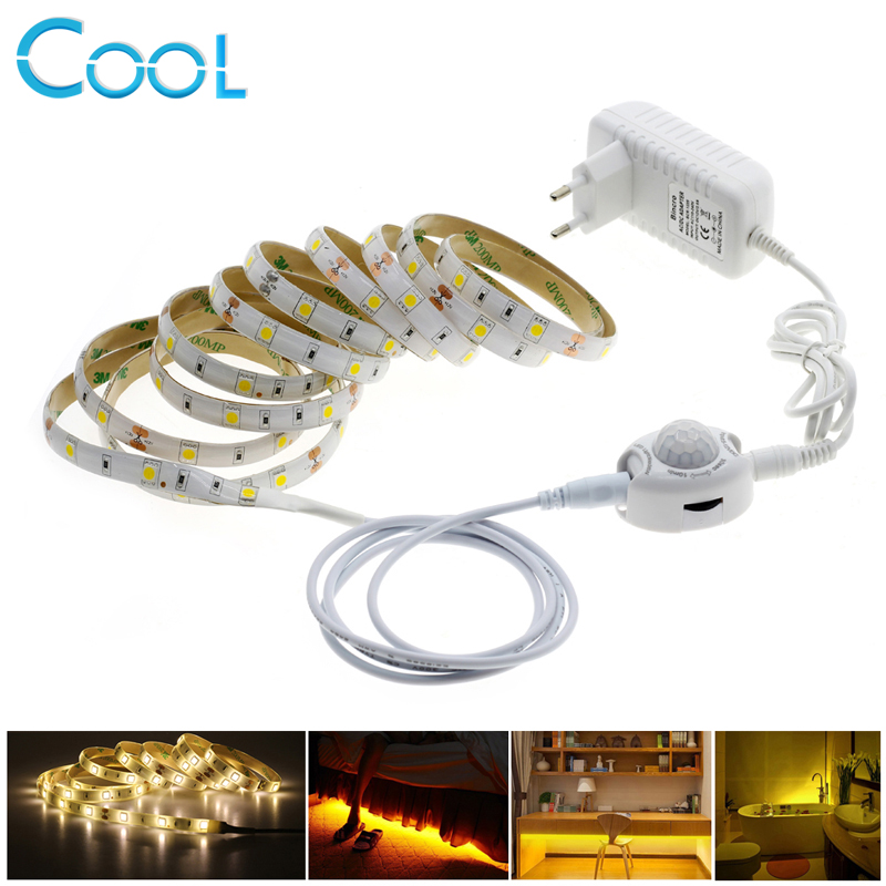 Pir Motion Sensor LED Strip Light 5050 30LEDs/m Night Light Strip Warm White 2.5M /5M Smart Turn ON OFF Bed Light lole леггинсы lsw1234 motion leggings m blue corn