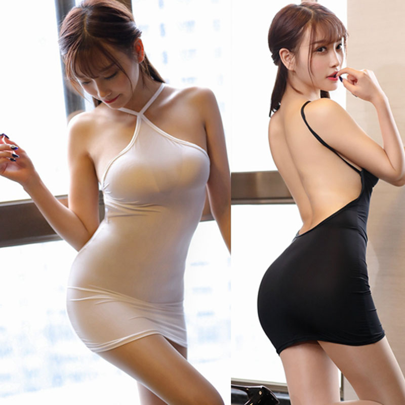 Thin Ice Silk See Through Strip Halter Backless MINI Dress Sexy Women Bodycon Tight Dress Transparent Night Club Erotic Wear