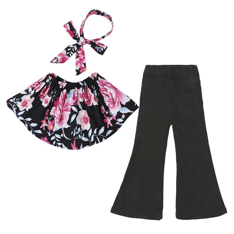 Children Sets for Girls Fashion 19 New Style Girls Suits for Children Girls T-shirt + Pants + Headband 3pcs. Suit ST307 44