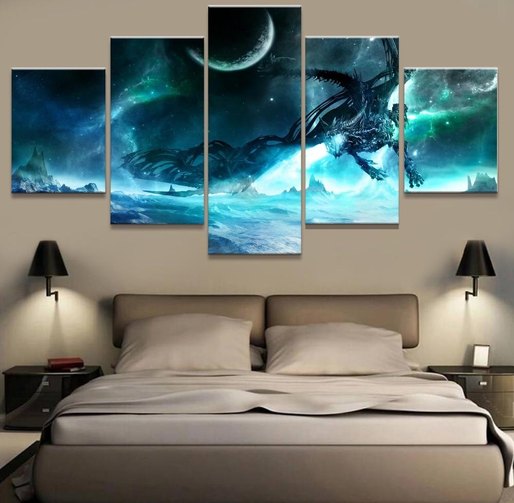 Genial Moderne Abstrakte Wandkunst Bilder Dekoration Leinwand Poster 5 Panel Lich  King Drachen Rahmen Wohnzimmer HD Gedruckt Malerei