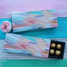 9.5x24.5x3.5CM Abstract painting pattern 10 set Chocolate Paper Box valentine Christmas Birthday Party Gifts Packing Boxes недорого