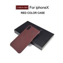 Real de Fibra de Carbono caja Del Teléfono Celular para El Iphone X 7 7 Más 4.7 5.5 pulgadas Teléfono Protección Shell Textura Negro ROJO marrón