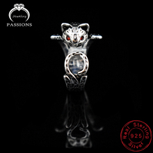 Hot Sale Fashion Silver Plate Rings Open Adjustable Maneki Neko Finger Ring Lucky Cat Pendant Rings For Women's Gift Jewelry
