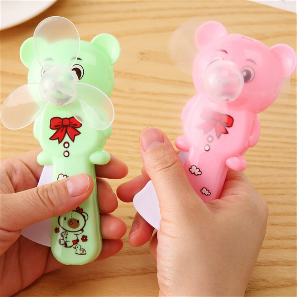 Fan Mini Portable Cartoon Cubs Hand Pressure Fan Page Manual Kids Handheld Summer Wholesale Mini Air Conditioner Portable