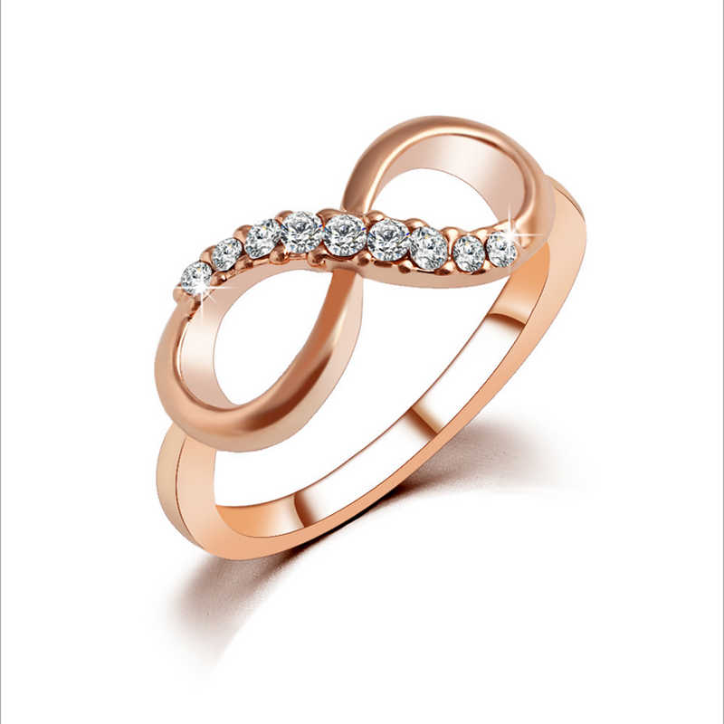 b9ce3ab62 Detail Feedback Questions about Stylish 8 Shaped Fashion Women Ring Finger  Jewelry Rose Gold color Rhinestone Crystal Rings 6/7/8/9 Size on  Aliexpress.com ...