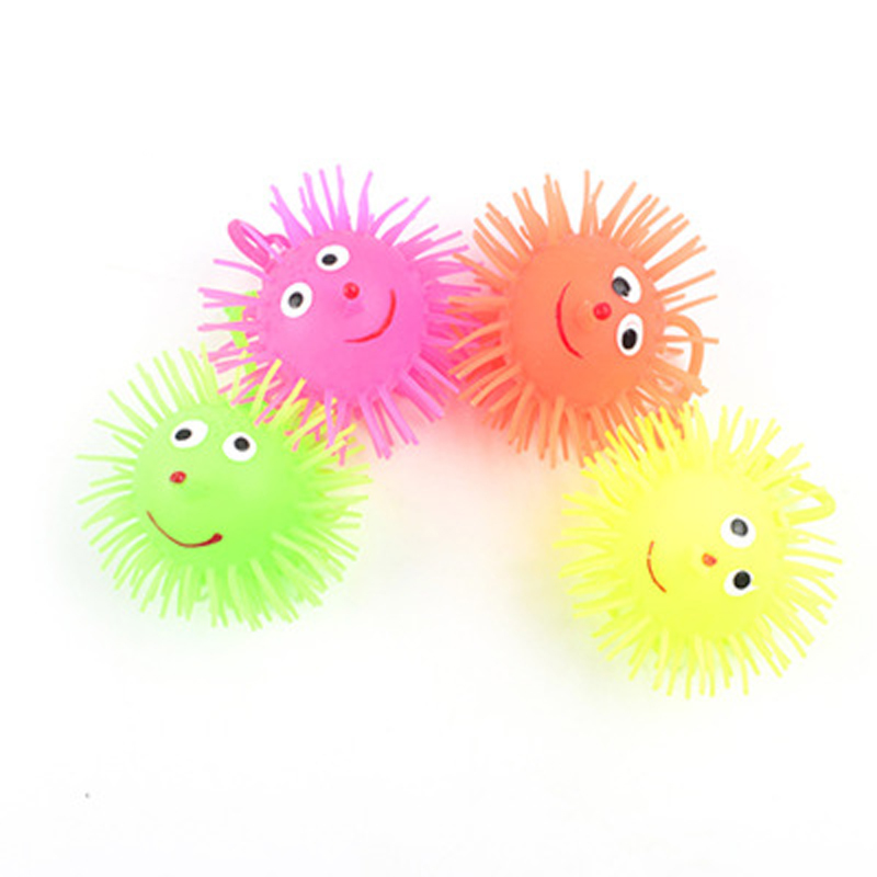 LED Flash New Strange Fun Decompression Toy Luminous Bouncy Ball Luminous Hedgehog Flash Plush Vent Toy Ball Children's Toys Who