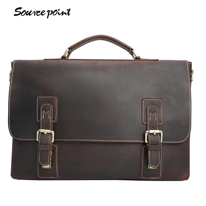 SOURCE POINT Genuine Leather 15 Inch Cowhide Retro Crossbody Briefcases Handbag Laptop iPad Bag Male Men Portfolio Tote YD-8015 цена и фото
