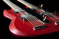 Led Zeppeli Página 1275 Double Neck, assinado Aged, corpo vermelho 12 cordas de guitarra 110401