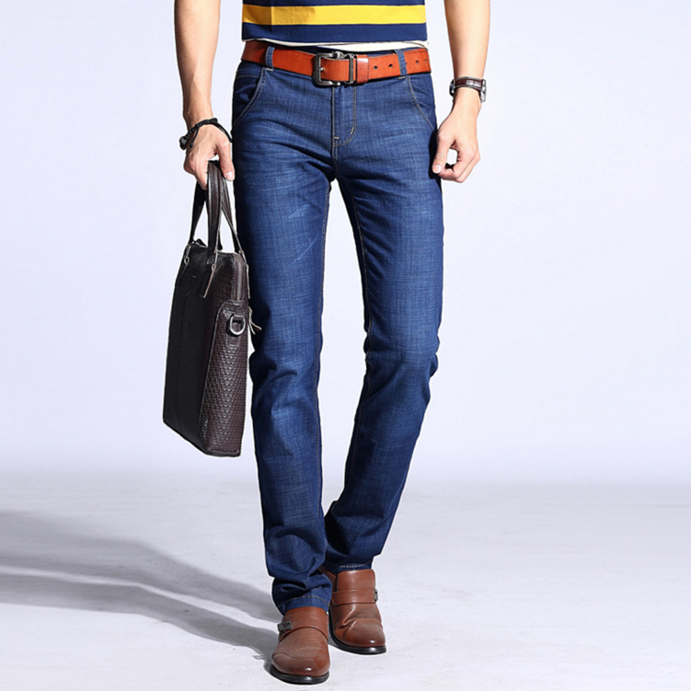 NEW 2017 Fashion Men Elastic Jeans Men s Casual designer denim pants Slim Regular Straight fit