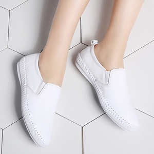Image 4 - STQ 2020 Autumn Women Flats Shoes Ballerina Flats Leather Oxford Shoes For Women White Slip On Ballet Flats Loafers Shoes 9371