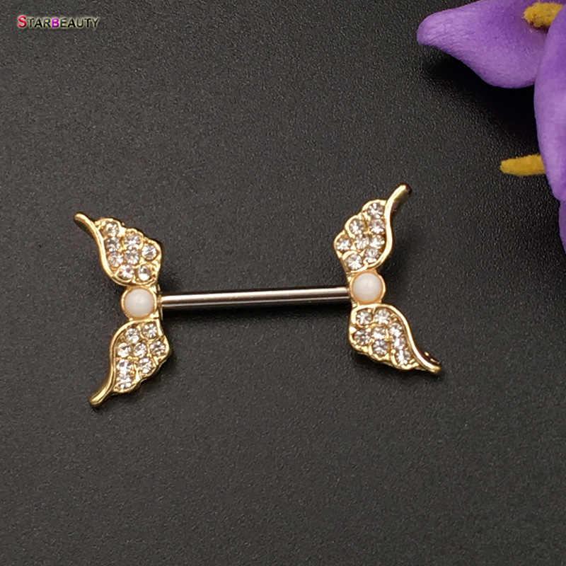 Starbeauty 2 cái/lốc Cánh Thiên Thần Núm Vú Xuyên Mamilo Gợi Cảm Nữ Vòng bao Thân Trang Sức Dễ Thương Giả Núm Vú Bao Pircing Tặng