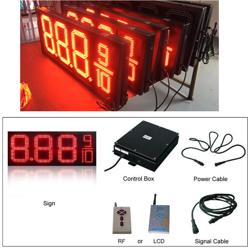 WIFI and RF remote control Red Color 12 inches Gas Oil Petrol station LED Price SignWIFI and RF remote control Red Color 12 inches Gas Oil Petrol station LED Price Sign