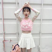 2019 summer ACID SUGAR women short t shirt laser transparent Crop top Harajuku letter print long sleeve Patchwork