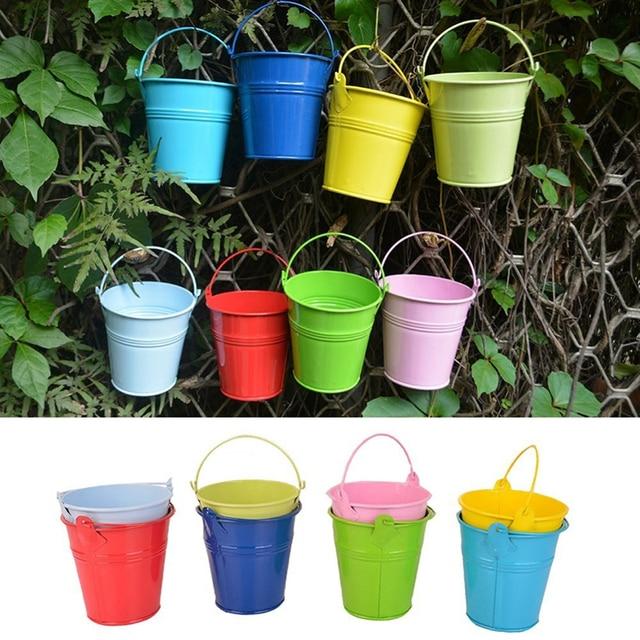 5 Pcs Fashion Colorful Macetas Vertical Garden Planters Metal Flower Pots Hang Bucket Hanging Wall Pot